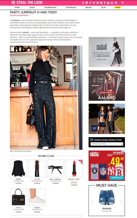 O Steal The Look apresenta sugestões de looks e indica as lojas onde você pode comprar